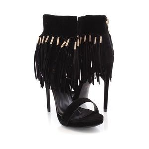 Shoes - Black Suede Fringed Heels with Gold Accents